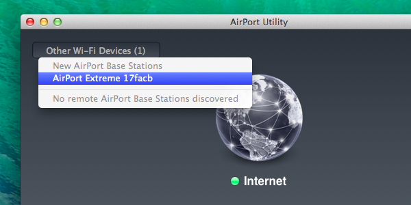 Airport utility explained your new airport extreme or time capsule will appear under the new airport base stations label fandeluxe Choice Image