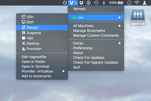 Vagrant Manager IU in OS X taksbar