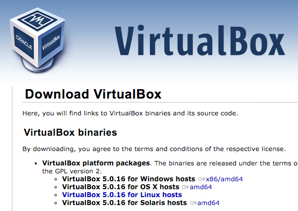 VirtualBox Download Page