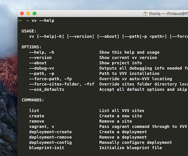 List of VV command viewed in OS X Terminal