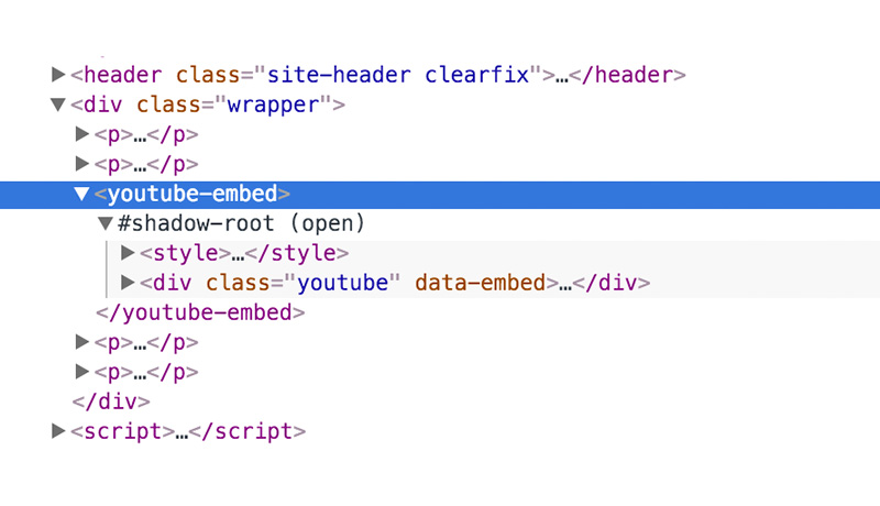 The Custom Element Shadow DOM Tree viewed in Chrome DevTools