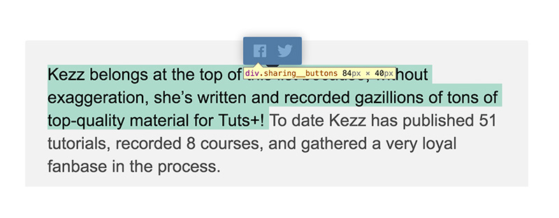 Inline sharing menu size inspected through Chrome DevTools