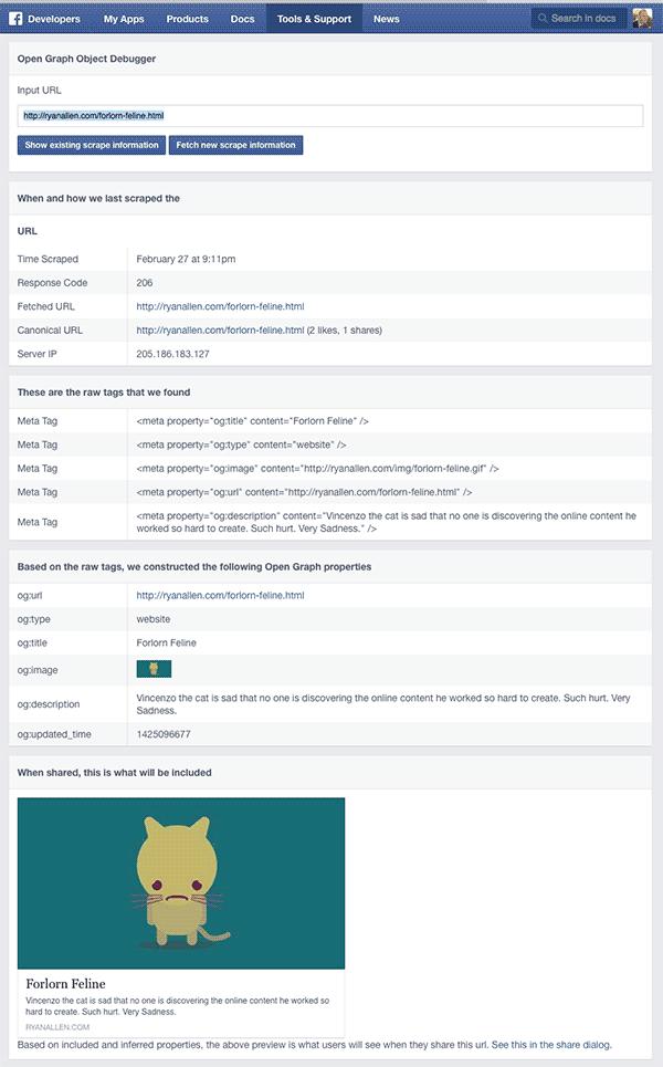 Validating facebook open graph markup