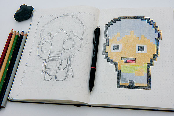 Sketchbook with a character sketch and final pixel art inspired illustration