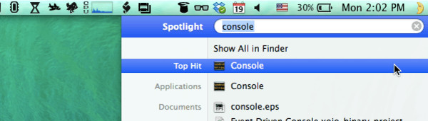Opening Console from Spotlight
