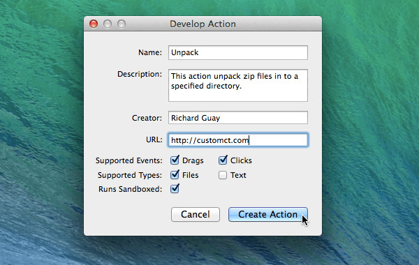 Develop Action Dialog