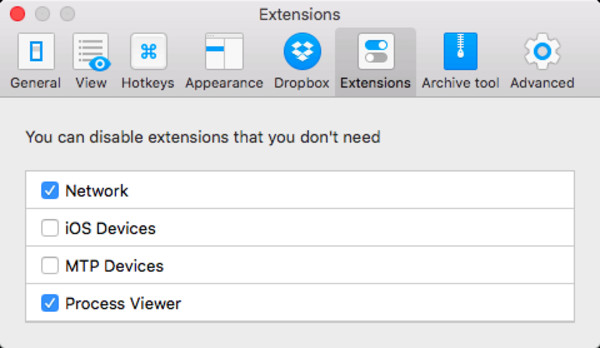 Extension Activation Tab