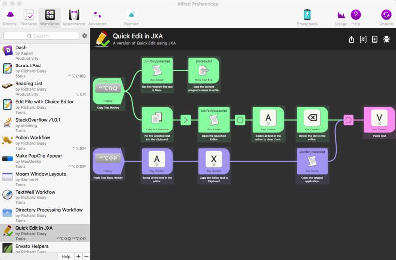 Alfred Workflow Quick Edit in JXA