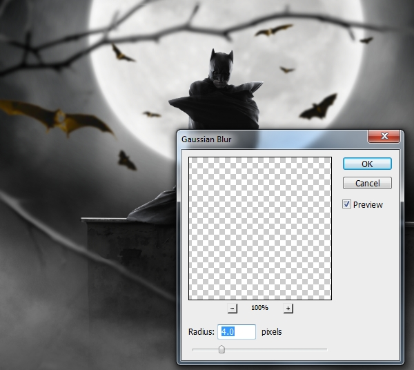 bats gaussian blur 4 px