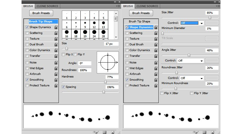 light dots brush settings
