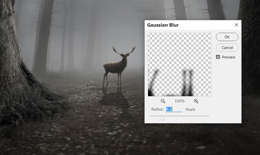 deer shadow gaussian blur