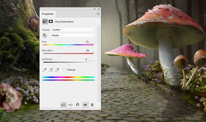 mushroom 3 hue saturation