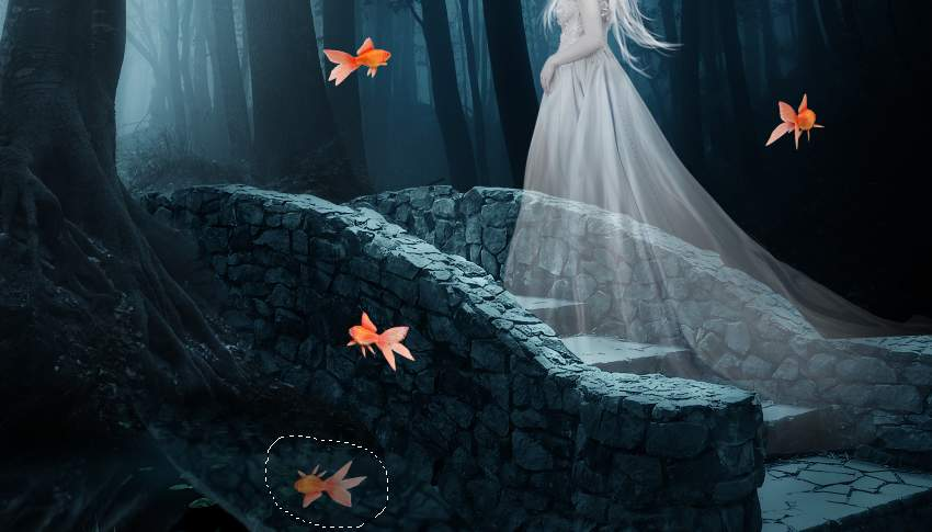 fantasy digital art  -add fish reflection
