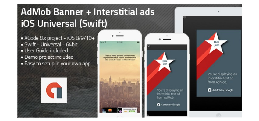 AdMob Banner  Interstitial ads iOS Universal app template