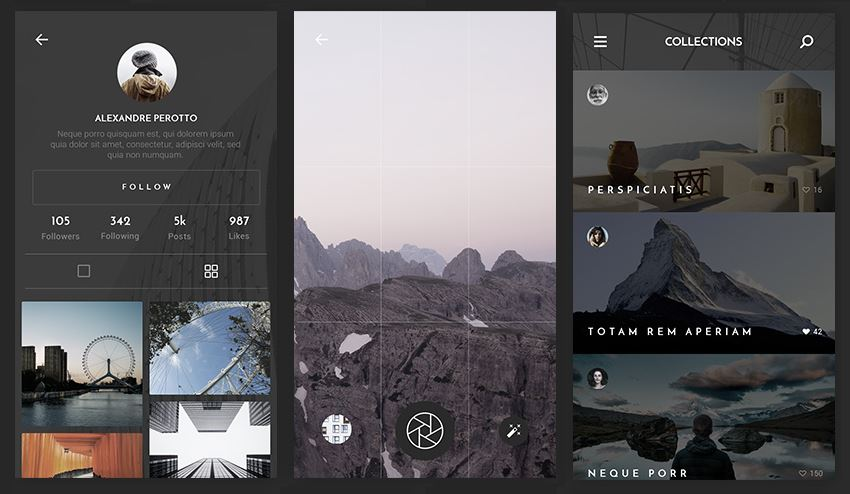 Photo App UI Kit sample views