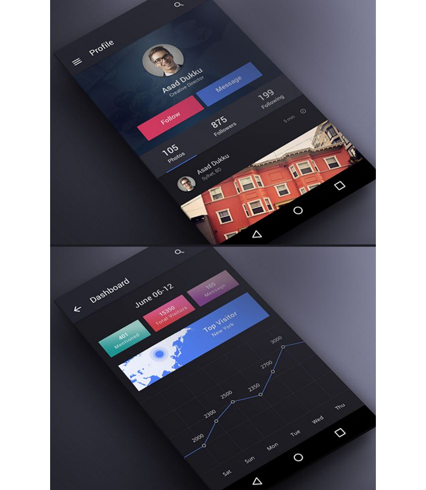 Dark UI Kit profile screen and dashboard