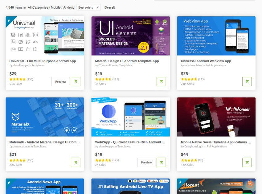 CodeCanyon mobile app template bestsellers