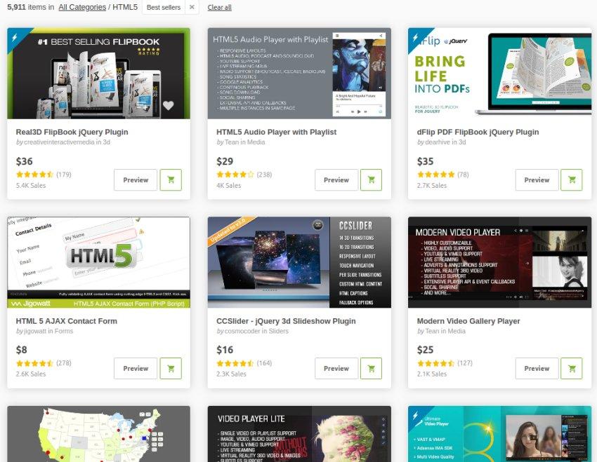HTML5 templates at CodeCanyon