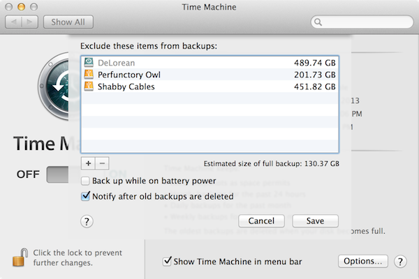 delete time machine backups from external drive