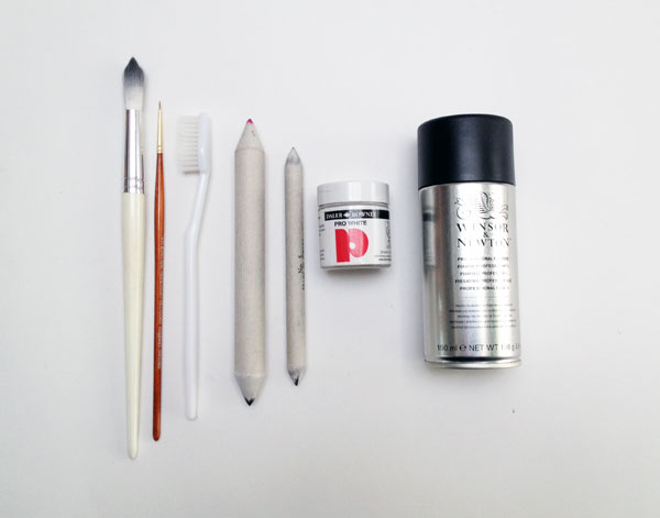 Paints brushes and blending nubs will come in use with this tutorial