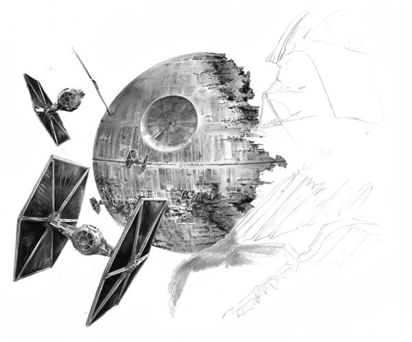 Continue working in a base layer with your graphite powder for Darth Vader