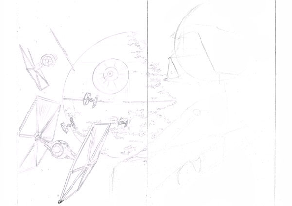 With the Death Star do not be too precise on drawing details as some of these will be covered as we render the image