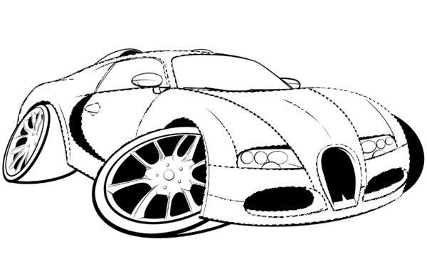 How to Draw, Ink and Colour a Cartoon Car in Adobe Photoshop