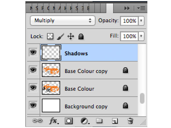 Take note of your layer hierarchy and make sure it stays in order and our shadow layer is set to multiply