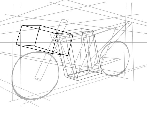 Затем нарисуйте прямоугольник, направленный вверх