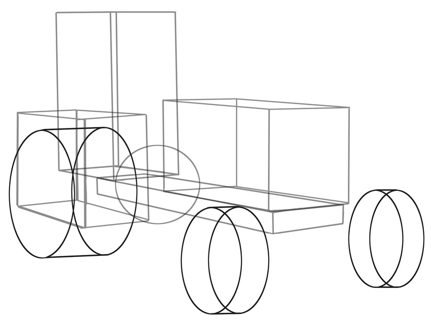 A series of cylinders make up the wheels note one is hidden by perspective