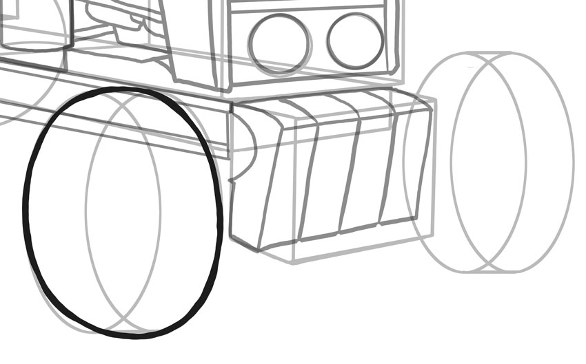 I recommend you practice drawing ellipses before trying to draw wheels and tyres