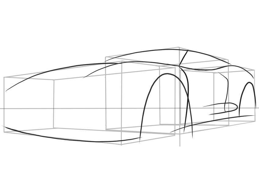 Посмотрите, как дверные линии следуют по форме автомобиля