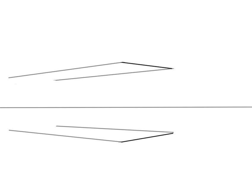Теперь нарисуем линии, идущие от противоположной точки схода