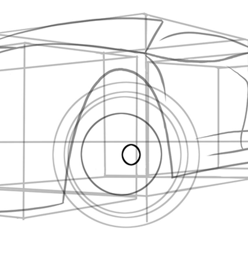 Прямо в самом центре нашего колеса нарисуйте небольшой значок колеса