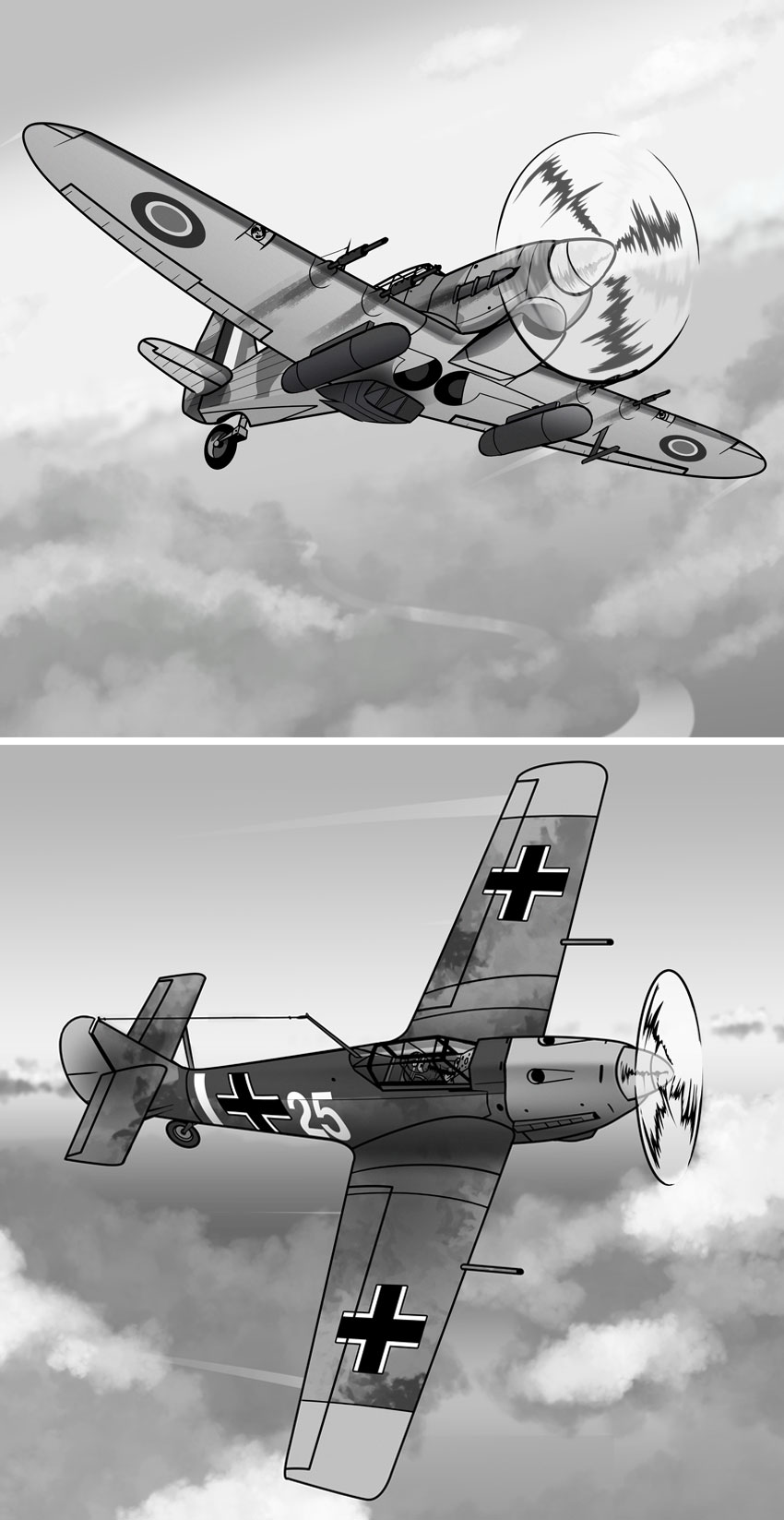 The Spitfire had companions like the Hurricane top and rivals like the Messerschmitt bottom