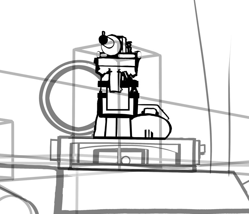 It takes a lot of care to draw one of the two machine guns