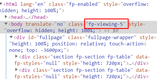 The default class appended to the body when the last section is visible