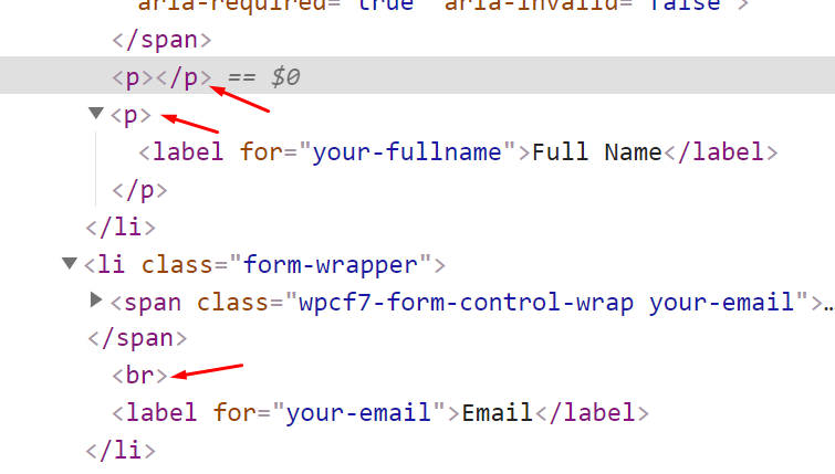 The extra tags that Contact Form 7 throws in the form