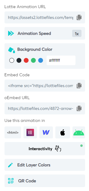 The customization options for a Lottie animation