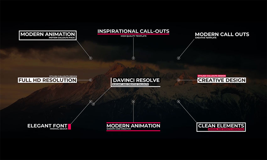 Modern Call Outs DaVinci Resolve Title Templates