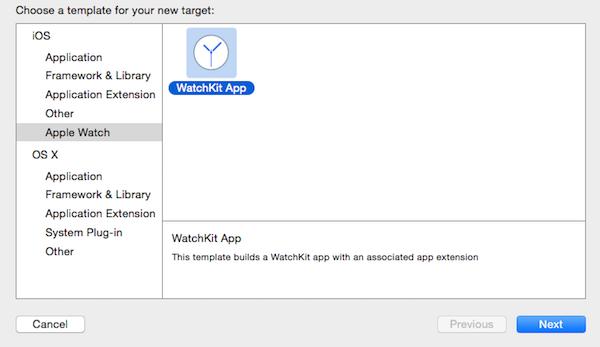 WatchKit App target