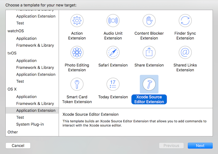Add a New Target of Type Xcode Source Editor Extension