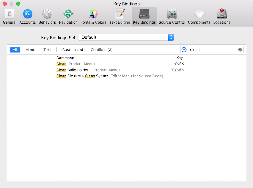 Xcode Preferences to Set a Key Binding for an Extension Command
