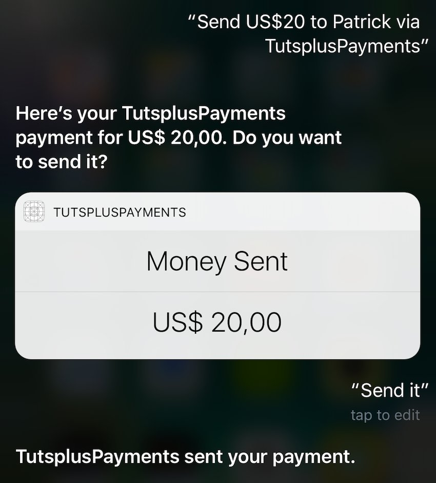First successful payment via Siri