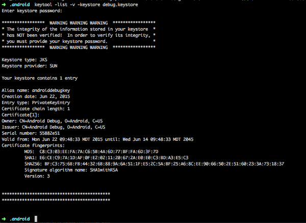 Screenshot of a terminal output when getting an SHA1 key from a keystore