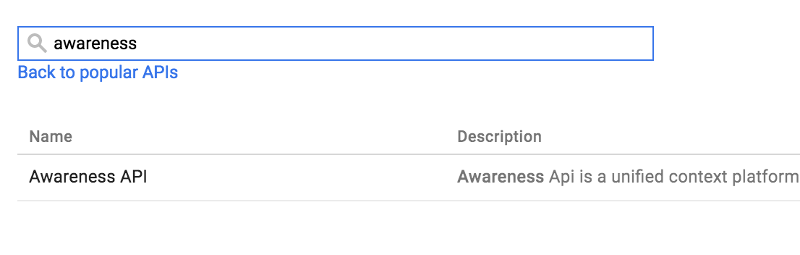 Google API Console Enable Awareness API
