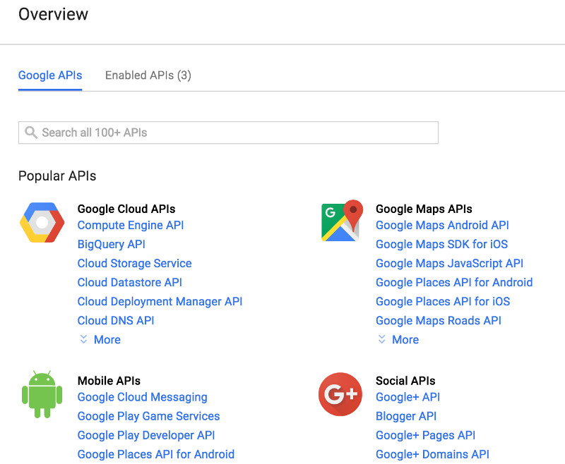 Google API Console Overview screen