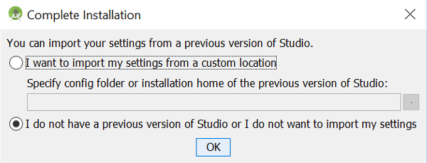 Import Android Studio Settings