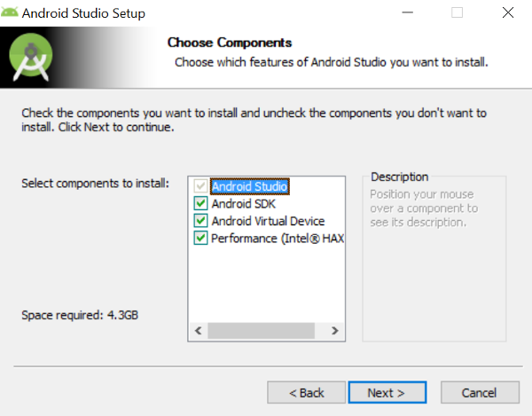 Android Studio Components Selection Screen