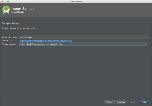 Android Studio Sample Setup